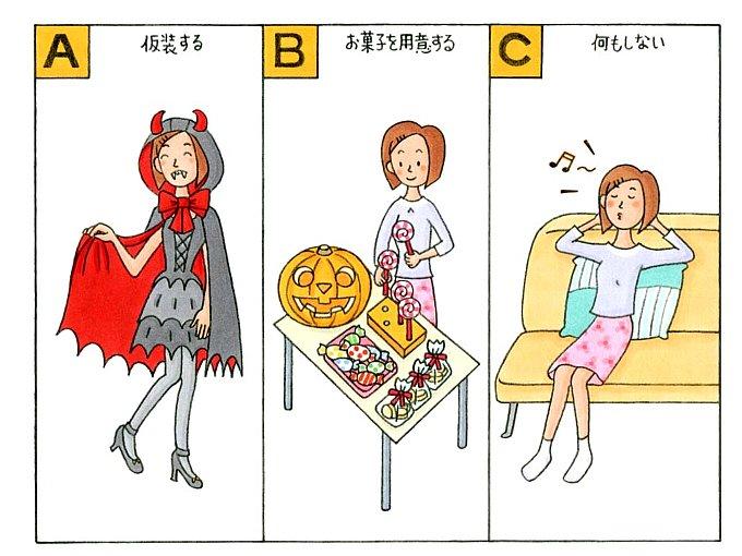 仮装をしている女性、おかしを準備する女性、ソファーでくつろぐ女性のイラスト