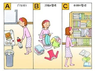 ゴミを拾う女性、服をたたむ女性、本を運ぶ女性のイラスト
