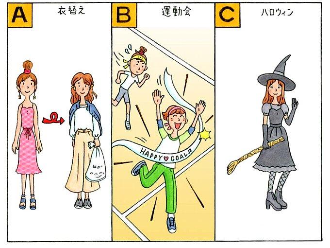 夏服から秋服に着替えた女性、徒競走をする女性、コスプレをする女性のイラスト