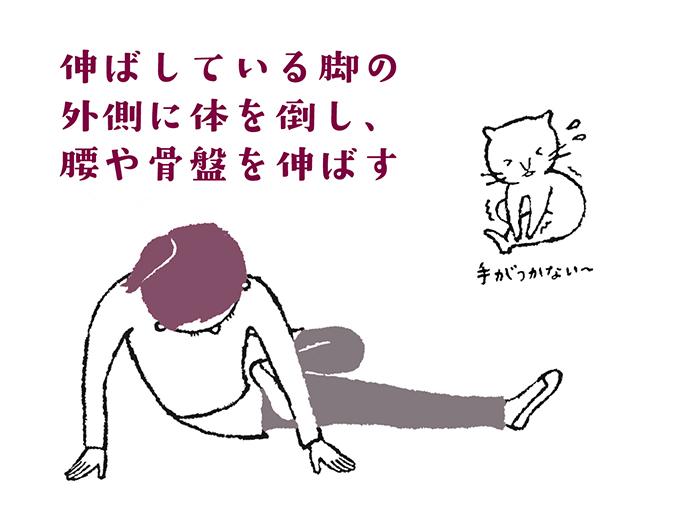 腰~骨盤にかけて伸ばすストレッチ