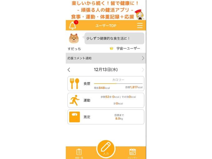 「ユーザーTOP」画面の情報が表示された画像