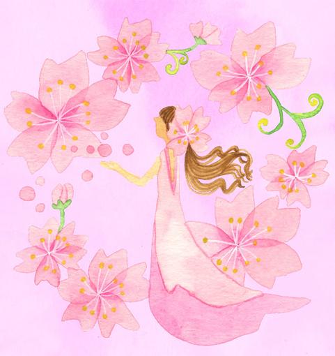 桜の人のイラスト