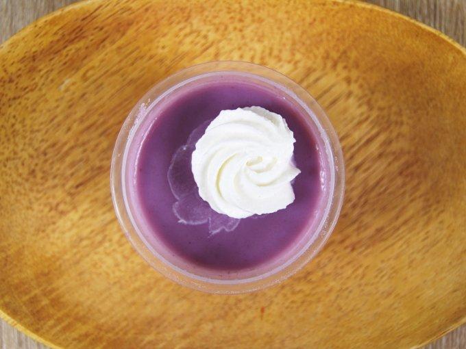 容器のふたを外した「沖縄県産紅芋の生スイートポテト」の画像