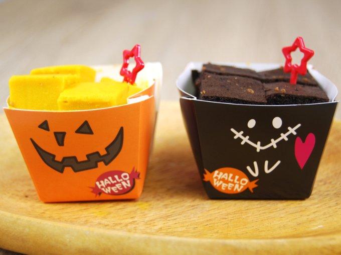 容器に入った「ショコラ&パンプキンチーズケーキ」の画像