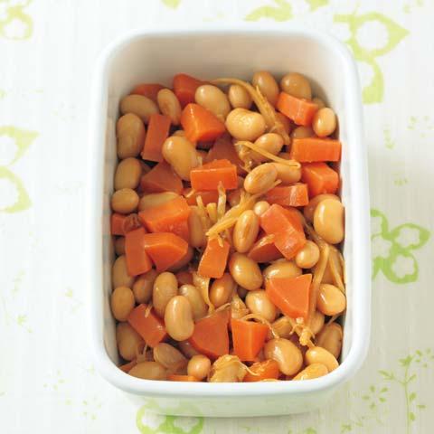 大豆とにんじんのしょうが煮の完成イメージ