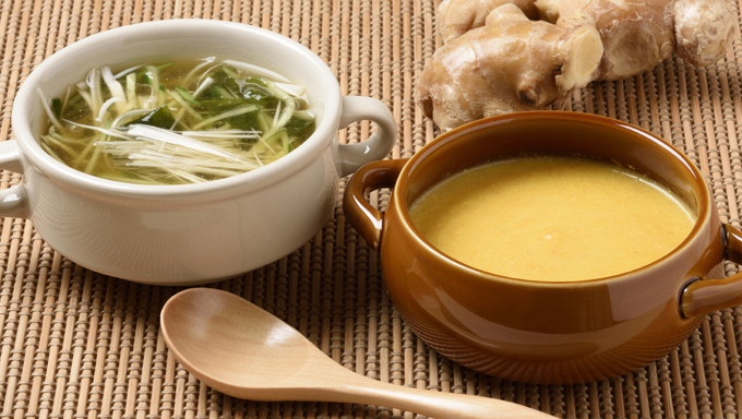 ショウガの冷製&温製スープレシピ