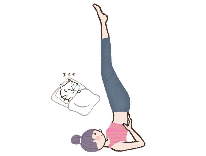 睡眠の質をUP!寝る前に「快眠」を誘う肩立ちのポーズ #今日のねこヨガ