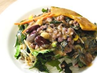 お皿に移した「食物繊維が摂れる16品目のサラダ」のアップ画像