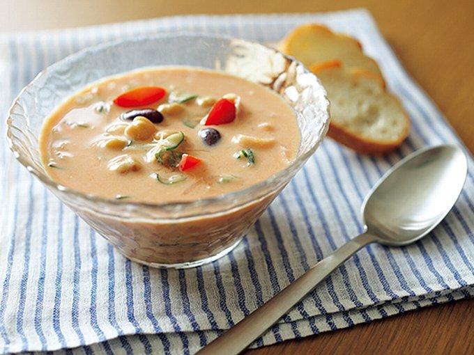 ヨーグルト&トマトの冷たい菌活スープの完成イメージ