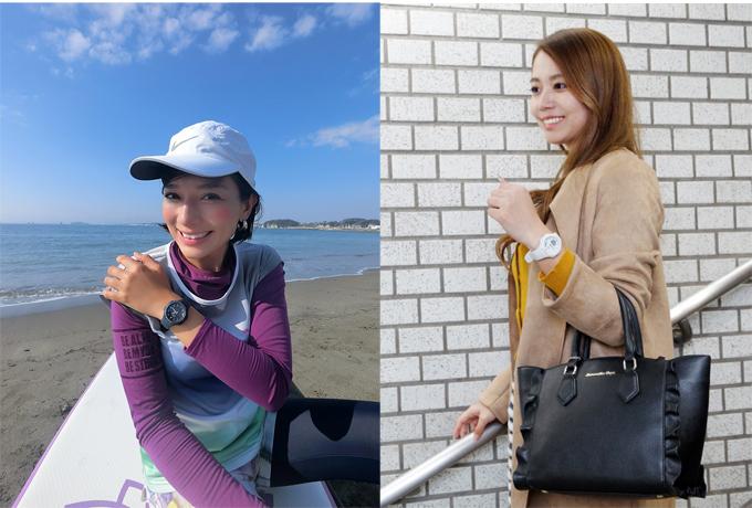 海辺の芳美さん      駅の階段をおりる徳永さん