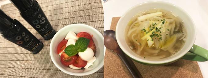 トマトとモッツアレラのサラダ たまねぎのスープオリーブオイルがけ
