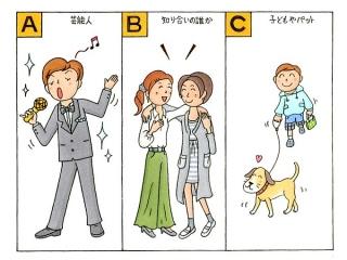 歌を歌っている様子、女性同士で肩を組んでいる様子、犬の散歩をしている小さい男の子のイラスト