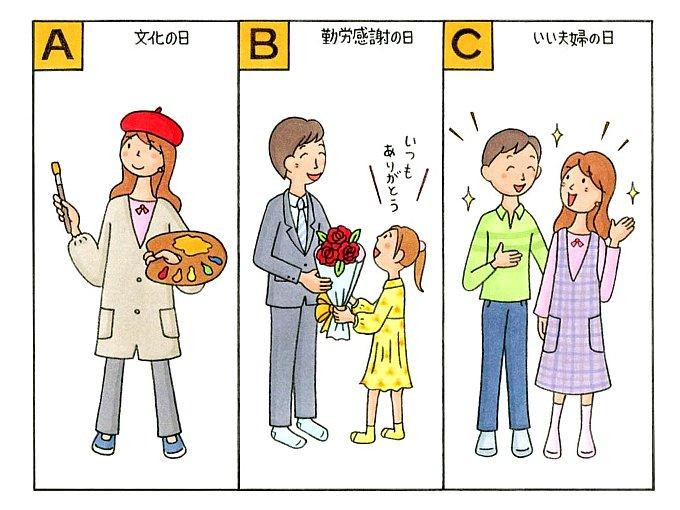 絵具のパレットを手に持つ女性、男性に花束を渡す女の子、楽しそうに話す男女のイラスト