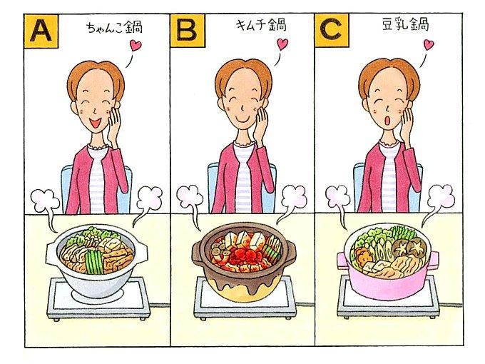 ちゃんこ鍋、キムチ鍋、豆乳鍋がそれぞれ女性の前に置かれているイラスト