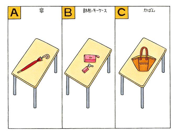 机の上に傘、キーケース、かばんが乗っているイラスト
