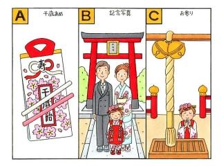 千歳あめ、記念写真をとる家族、神社にお参りをしている女の子のイラスト