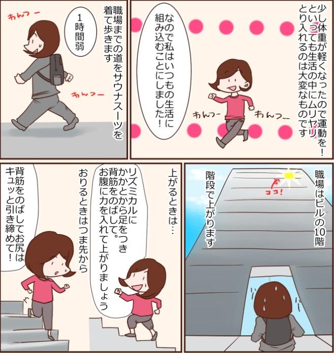 少し体重が軽くなったので運動を!といっても生活の中にムリヤリとり入れるのは大変なものです なので私はいつもの生活に組み込むことにしました!職場までの道を1時間弱サウナスーツを着て歩きます 職場はビルの10階 階段で上がります上がるときは…リズミカルにかかとから足をつき背筋をのばして。お腹に力を入れて上がりましょう おりるときはつま先から背筋をのばしてお尻はキュッと引き締めて!