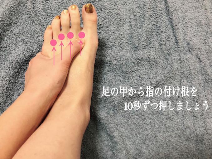足の甲から指の付け根を押す