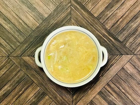酢もやし卵スープのできあがり