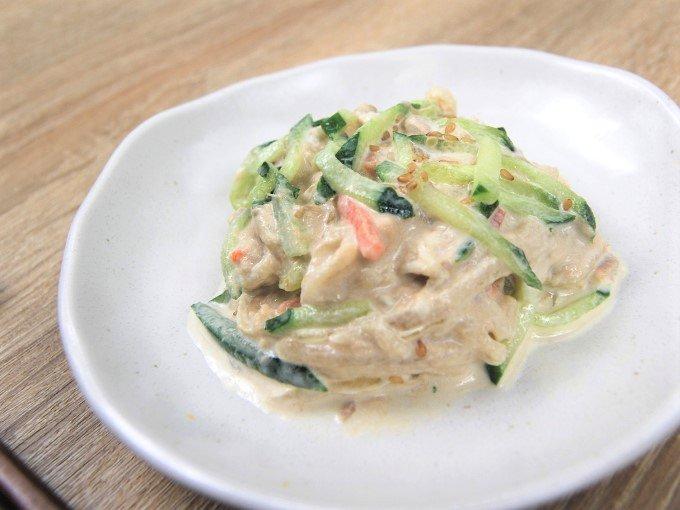 お皿に移した「ツナと切干大根の和サラダ」の画像
