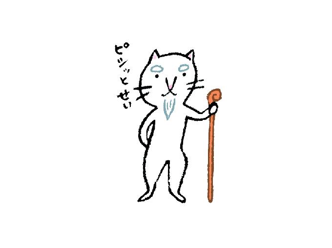 杖をつくねこ