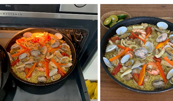 <ALT>パエリアを最後はオーブンで焼く <ALT>焼き色のついたパエリア