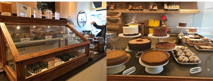 左パンやクッキーなど種類も豊富   右魅力的なケーキの数々