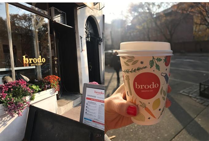 左『Brodo』カフェの外観 右一杯でお腹も満足&芯から温まります