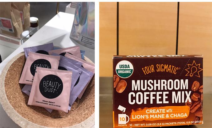 左 グゥイネスパルトローも推薦する「美肌」「脳」「睡眠」サプリ 右 免疫力を高める「マッシュルームコーヒーミックス