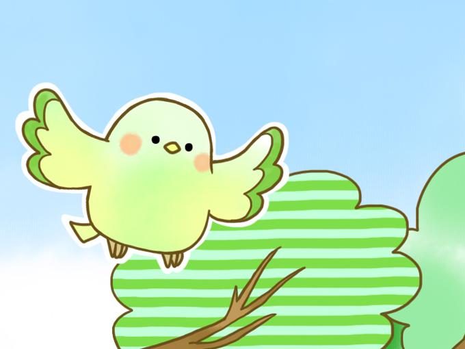 左の緑の小鳥