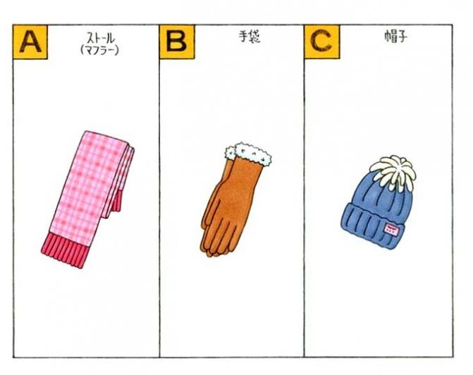マフラー、手袋、帽子のイラスト