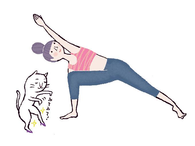 体側を伸ばすポーズ
