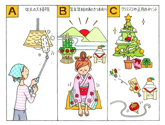 大掃除、あいさつまわり、クリスマス・正月のイラスト
