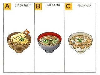 天ぷらや油揚げ、山菜・きのこ類、何も入れないそばのイラスト
