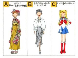 振袖、ブランド洋服、アニメや漫画のコスチュームのイラスト