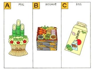 門松、おせち料理、お年玉のイラスト