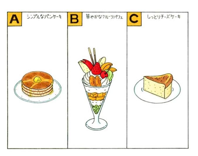 パンケーキ、パフェ、チーズケーキのイラスト
