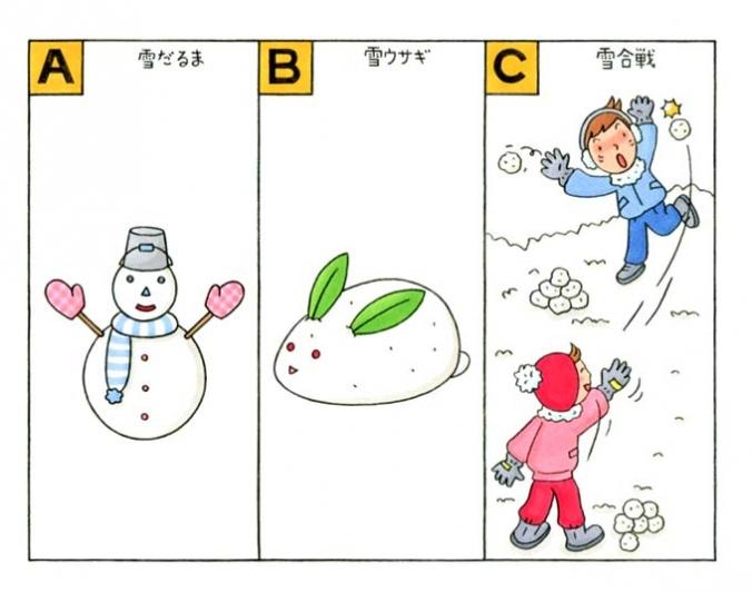 雪だるま、雪ウサギ、雪合戦のイラスト