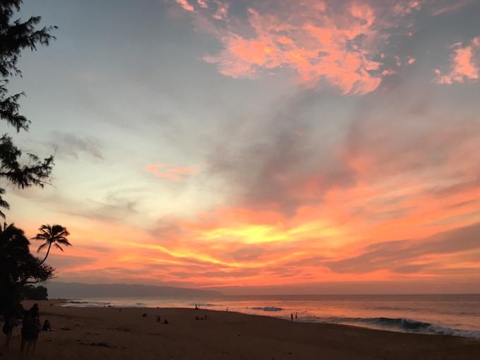ハワイのキレイな夕焼け