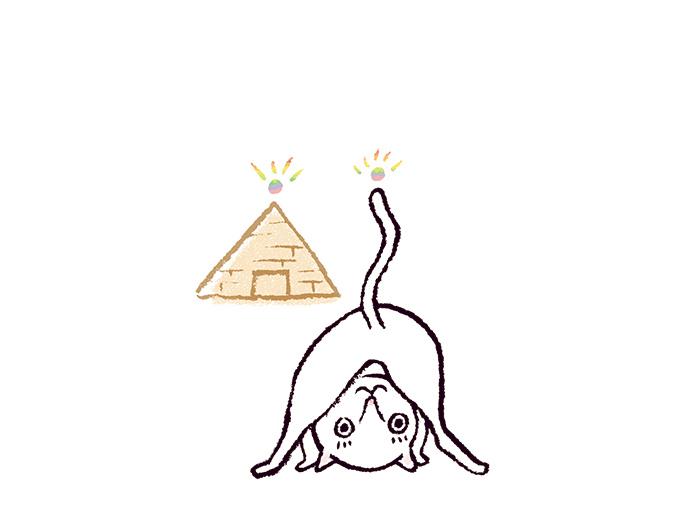 ピラミッドのポーズイラスト(ねこ)