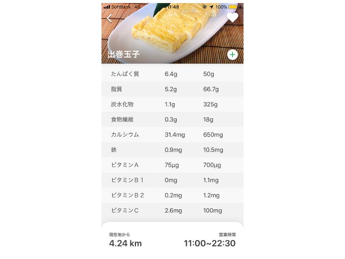 「出巻玉子」の栄養素を表示した画像