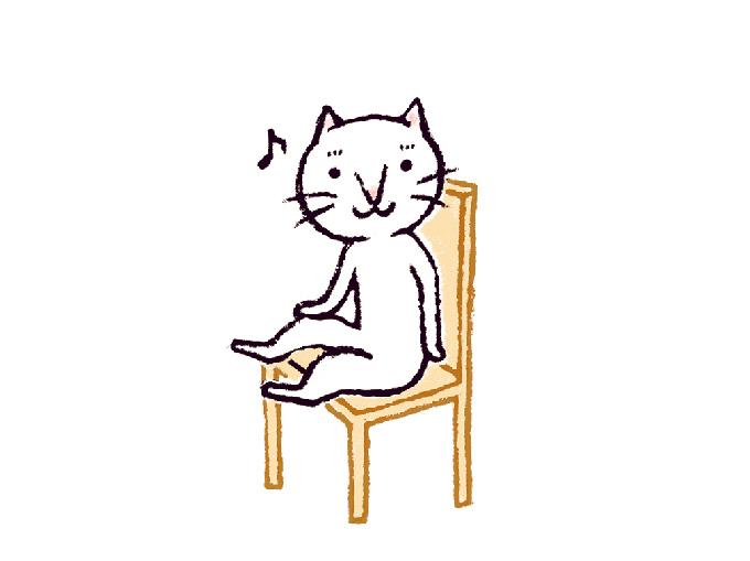 椅子のポーズイラスト(ねこ)
