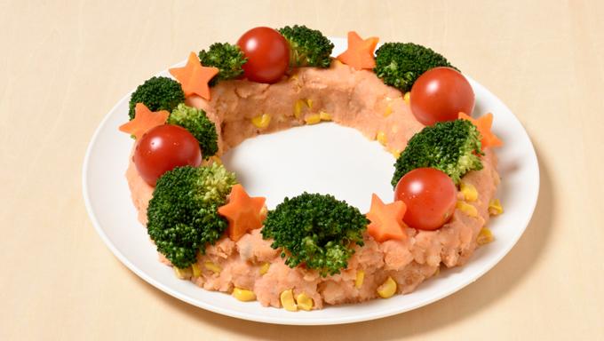 クリスマスリースのポテトサラダ