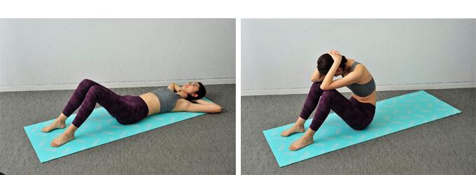 左:ひじを広げて頭を支えている、右:ひじを広げた状態で上体を起こす