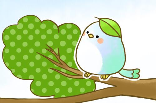 右の頭に葉っぱが乗った青い小鳥