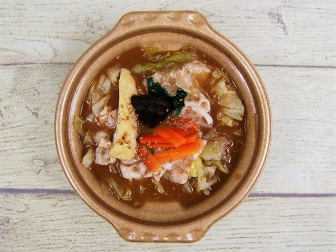 ふたをとった「1/2日分の野菜! たっぷりお肉の味噌鍋」の画像