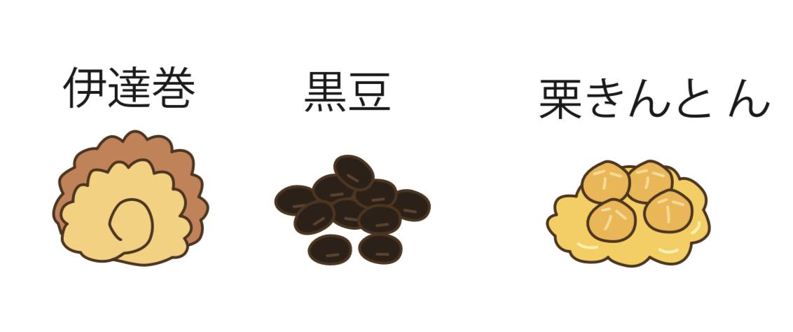 伊達巻、黒豆、栗きんとんのイラスト