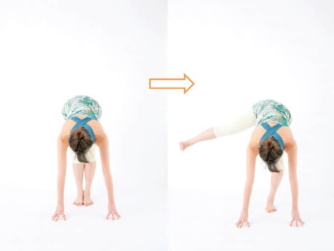 スタートポジション横に足を上げる