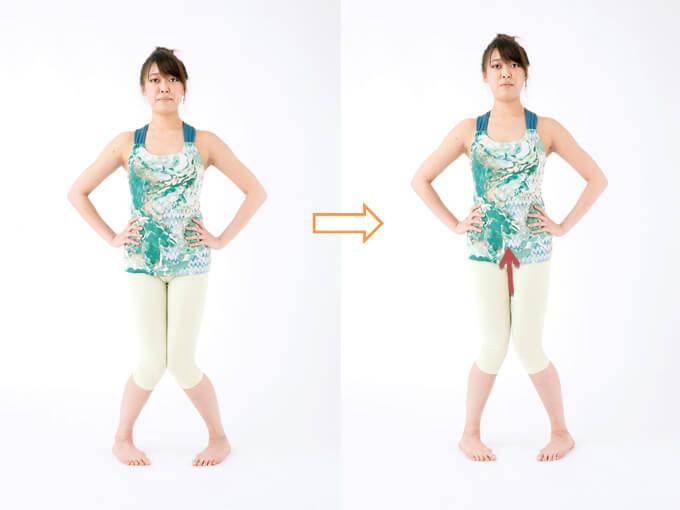 ひざをつけて背すじを伸ばすひざを伸ばす