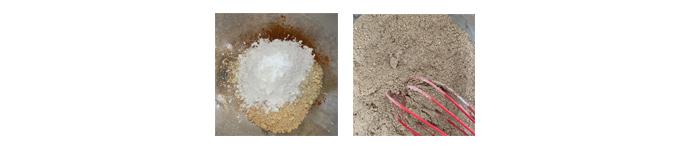粉をボウルに入れる粉を混ぜる